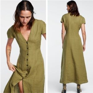 Zara // Long Linen Green Button Front Dress